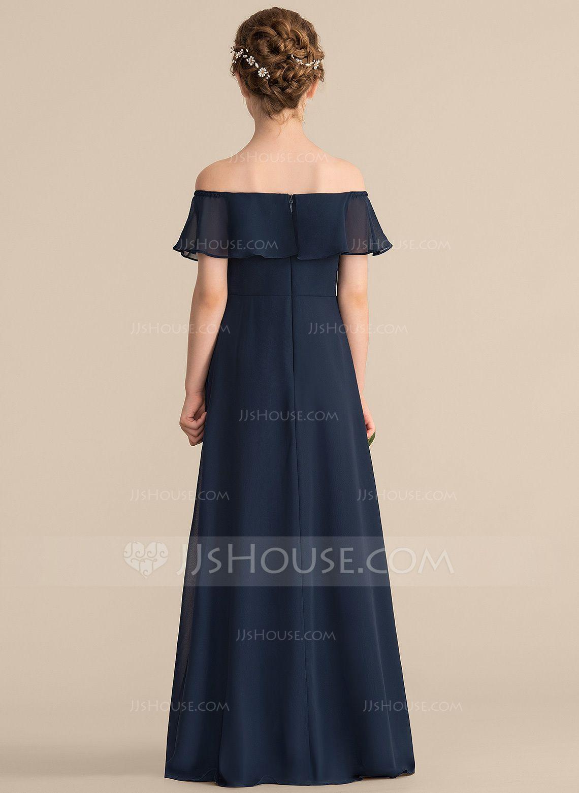 ba5b718147 A-Line Princess Off-the-Shoulder Floor-Length Chiffon Junior Bridesmaid