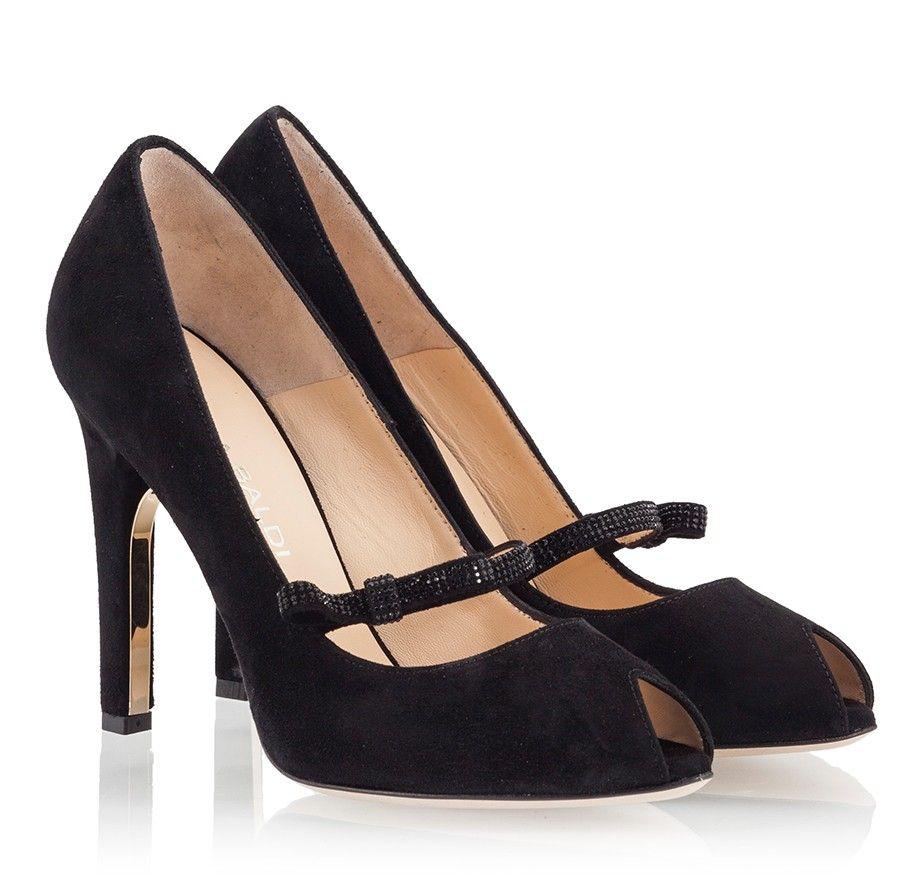 Lella Baldi Mary Jane peep toe black suede high heel pumps | Fratelli Karida Shoes