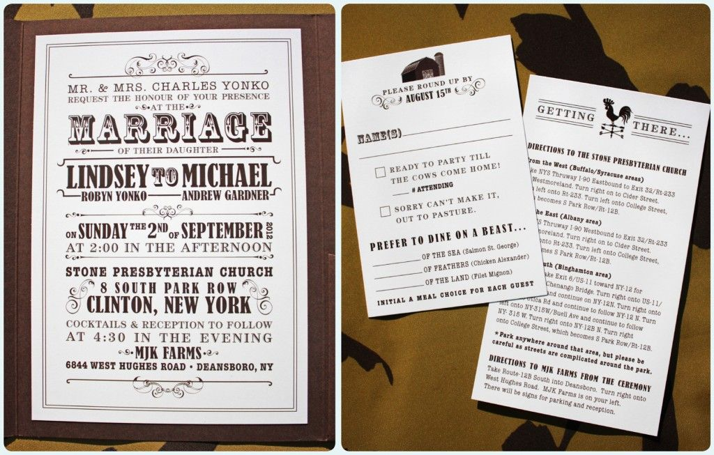 brown and cream farm themed vintage poster style wedding, Wedding invitations