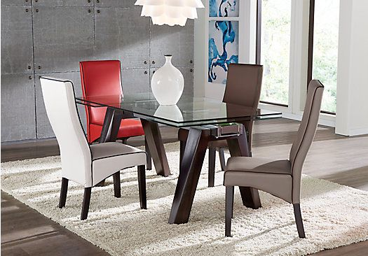 Encino Espresso 5 Pc Rectangle Dining Room With Gray Galena Chairs Amazing Bargain Dining Room Sets Decorating Inspiration
