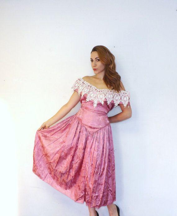 Vintage Plus Size 80s 90s Pink Floral Damask Off Shoulder