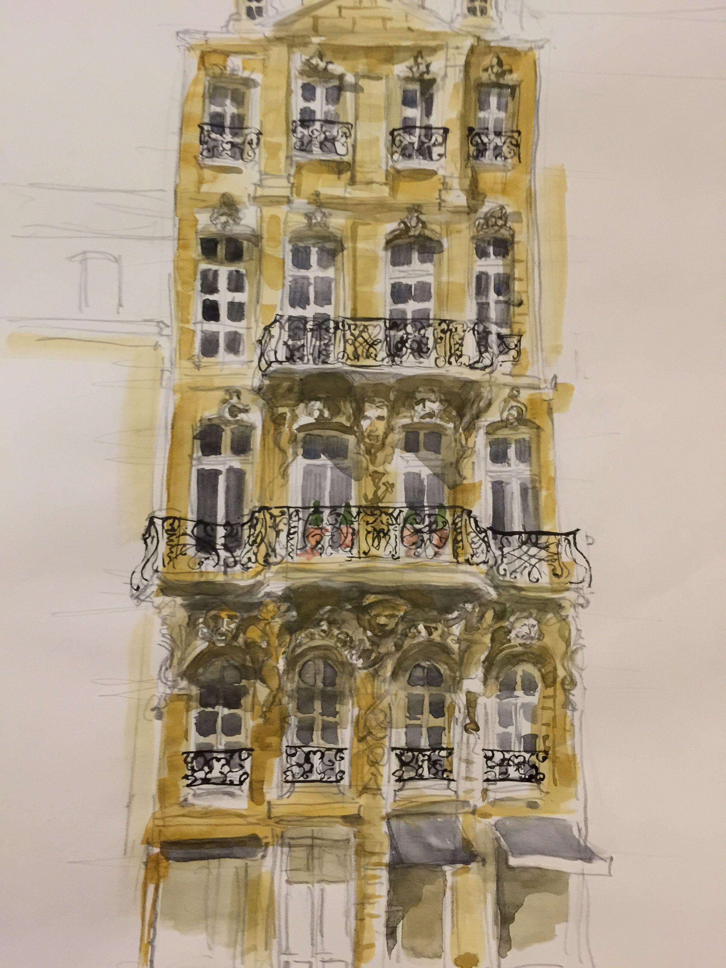 Nantes Facade Xviii Watercolor Aquarelle Francois Bro De