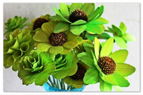Two Dozens Lime Green Wooden Flowers With Stems