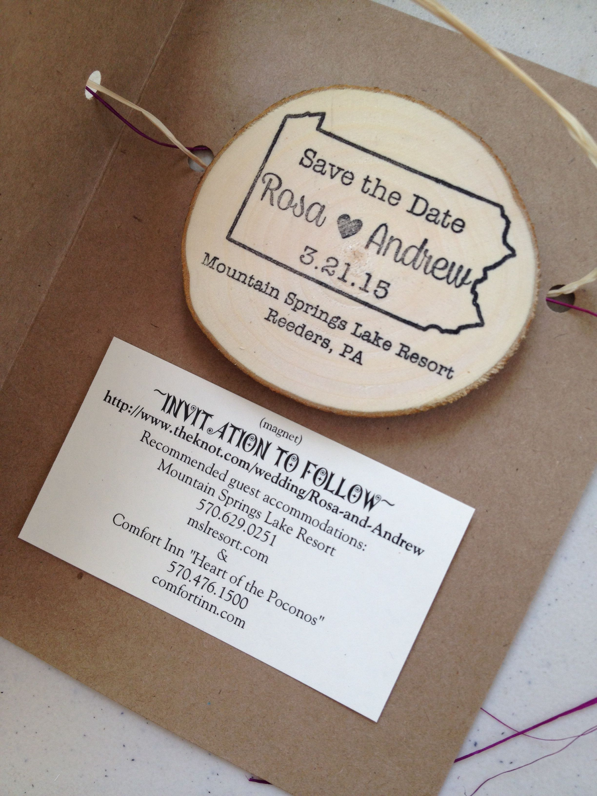 Homemade Wood Save-the-Date Magnets (stamp From Etsy