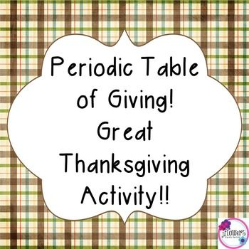 Periodic Table Great Thanksgiving Activity Atomic number, Create - copy 6th grade periodic table activity