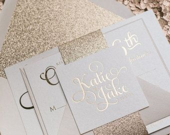 Foil Grey And Rose Gold Glitter Modern Wedding By Justinviteme