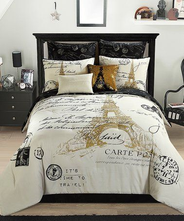 Look At This Zulilyfind Gold Paris Eight Piece Comforter Set Zulilyfinds Paris Bedroom Paris Themed Bedroom Paris Bedding