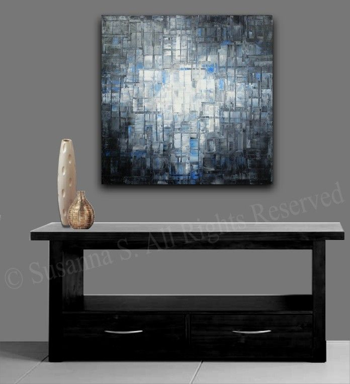 Grande negro gris azul abstracto contemporáneo arte moderno cuchillo de paleta de pintura al óleo originales por Susanna 36 x 36 Made2Order