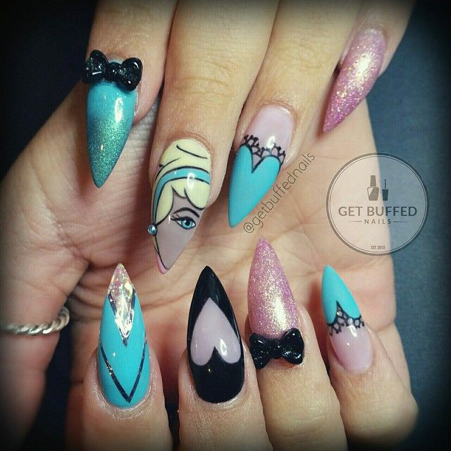 Turquoise Stiletto Nail Art: Pink And Turquoise Stiletto Nails Inspired By Disney's
