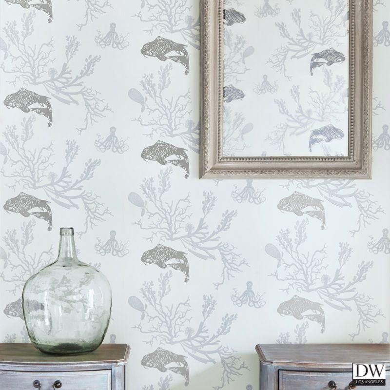 Coral Island Accent Wall: Coral Coy Fish Wallpaper -Pale Grey Silver [BGA-48040C