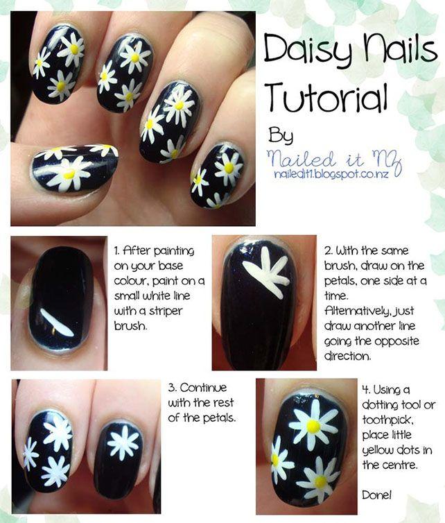 Daisy Nail Art Style Tutorial   Nails   Pinterest   Style, Tutorials ...