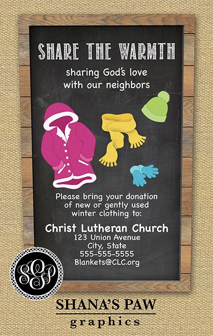 Clothing Drive Flyer  Chalkboard Design  Care and Share  Flyer template Coat drive Drive poster
