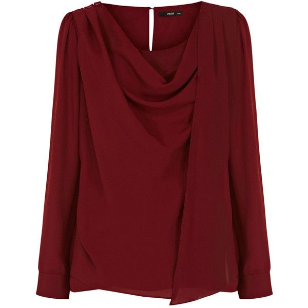 OASIS Drape Cowl Neck Top ($33) ❤ liked on Polyvore