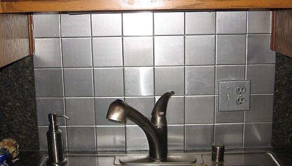 how to install a faux stainless steel backsplash for about 50 rh pinterest co uk Installing Tile Backsplash in Kitchen White Subway Tile Backsplash