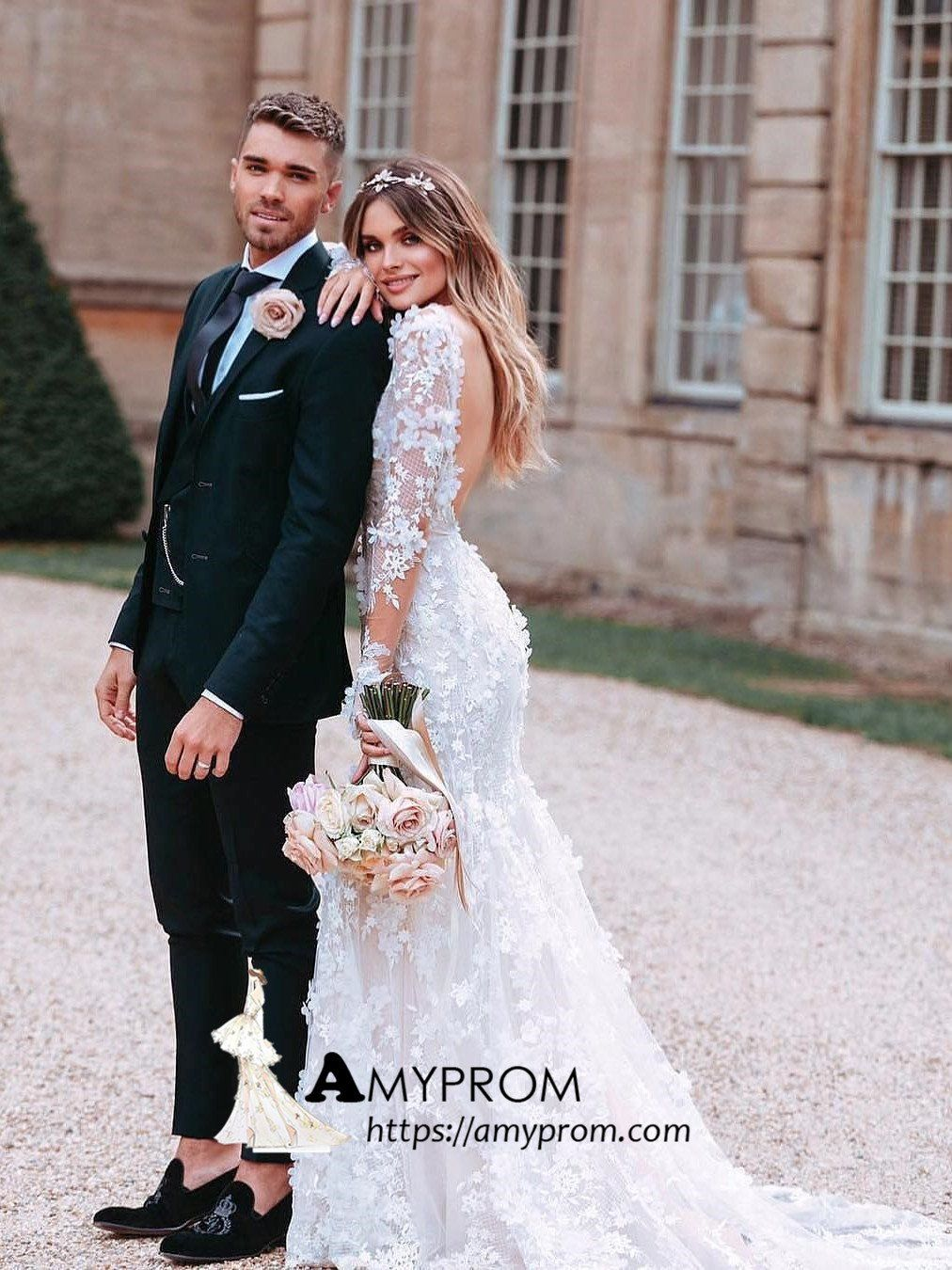 Photo of White Long Sleeve Lace Wedding Dresses Backless Romantic Wedding Gowns Bridal Go…