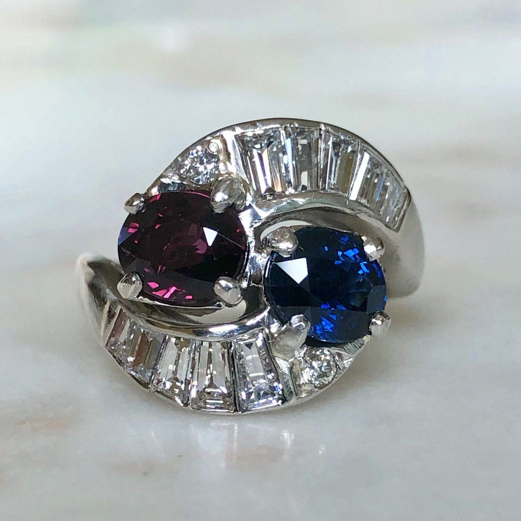 Vintage Ruby Sapphire Diamond Crossover Bypass Platinum