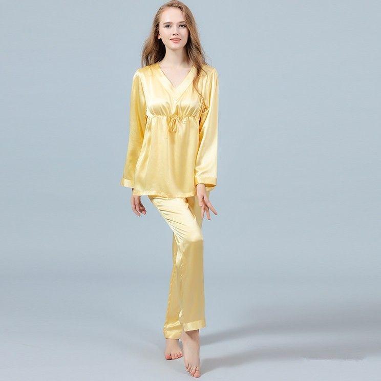 723400f4af77d 22 Momme Silk Pajamas Set Pullover Shirt   Long Pants