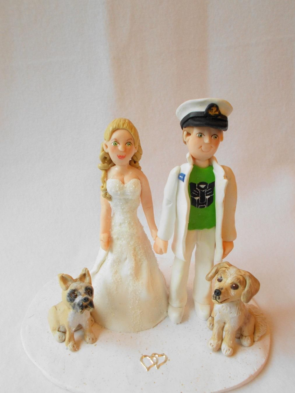 Custom wedding cake topper polymer clay wedding cake topper custom