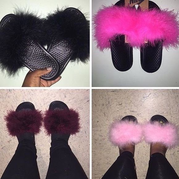 Unique Shoes Fur Slide Shoes Fluffy Fur Slides Red Nike Slides Nike Marabou