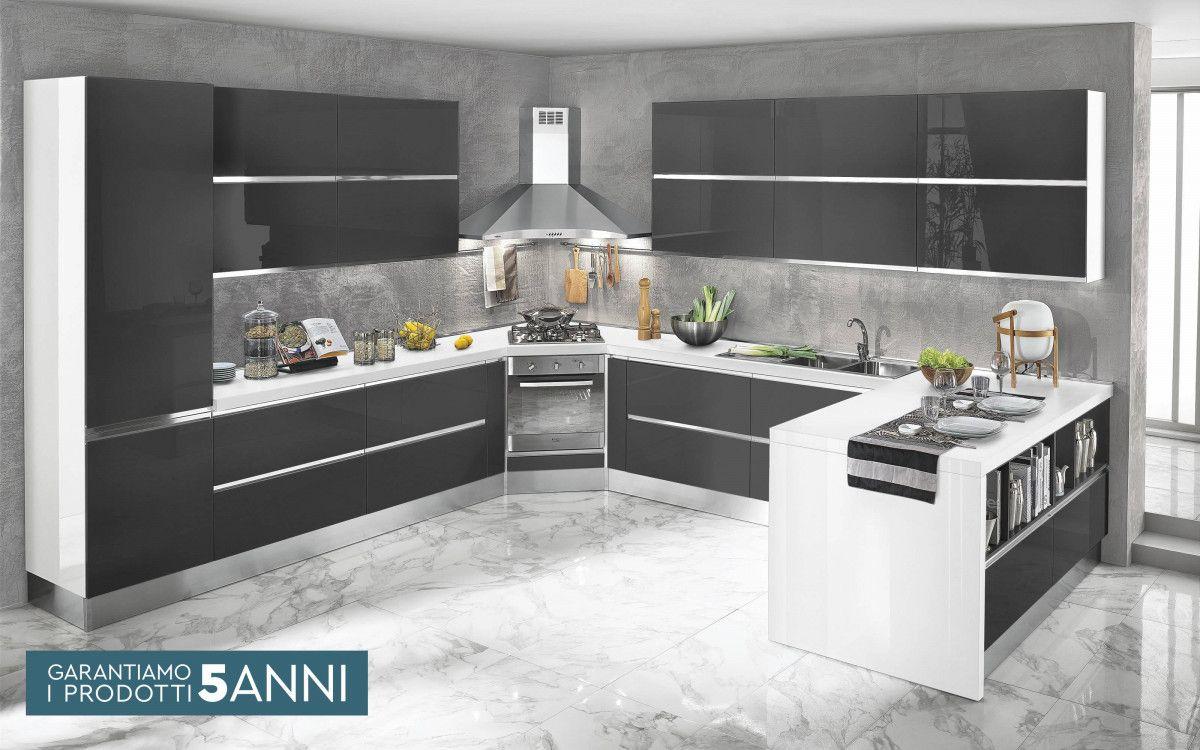 Cucina componibile, bianco, bianco lucido Veronica