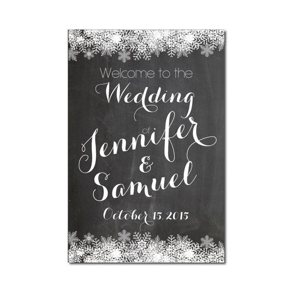 Welcome To Our Wedding Sign Winter By Clearylane