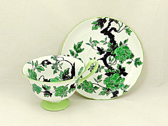 Shelley Ovington Cup and Saucer Oriental Design c.1950s
