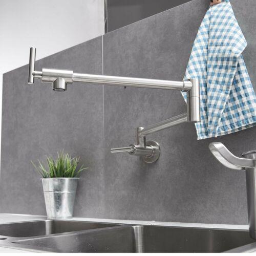 Brushed Nickel Kitchen Pot Filler Faucet Folding Stretchable Swing Arm Tap 739450459037 Ebay Pot Filler Faucet Faucet Pot Filler