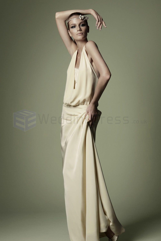 1920s Style Silk Cream Low Slung Waist Bodice Plunging Neckline Vintage Wedding Dress NTW01