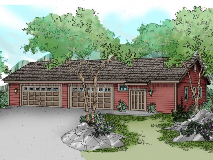 051G0033 8Car Garage Plan with Hobby Room; Size 80'x40