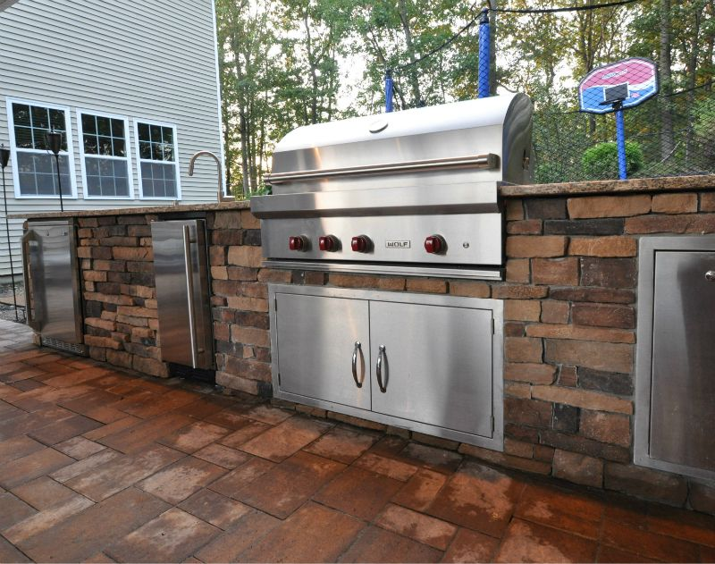 Outdoor Kitchen with Wolf Grill, Ice Maker, Fridge, Sink ...