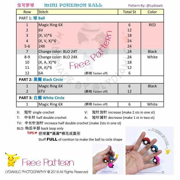 Mini pokeball free pattern   pokemon amigurumi   Pinterest   Free ...