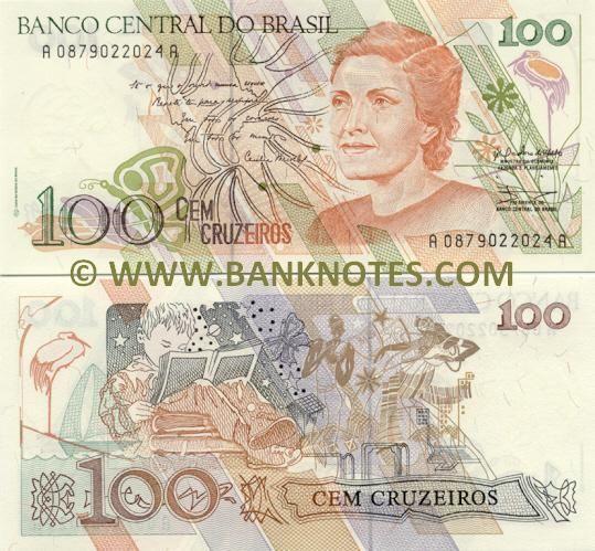 Brazil 100 Cruzeiros 1990 Com Imagens Notas Moedas Mundiais