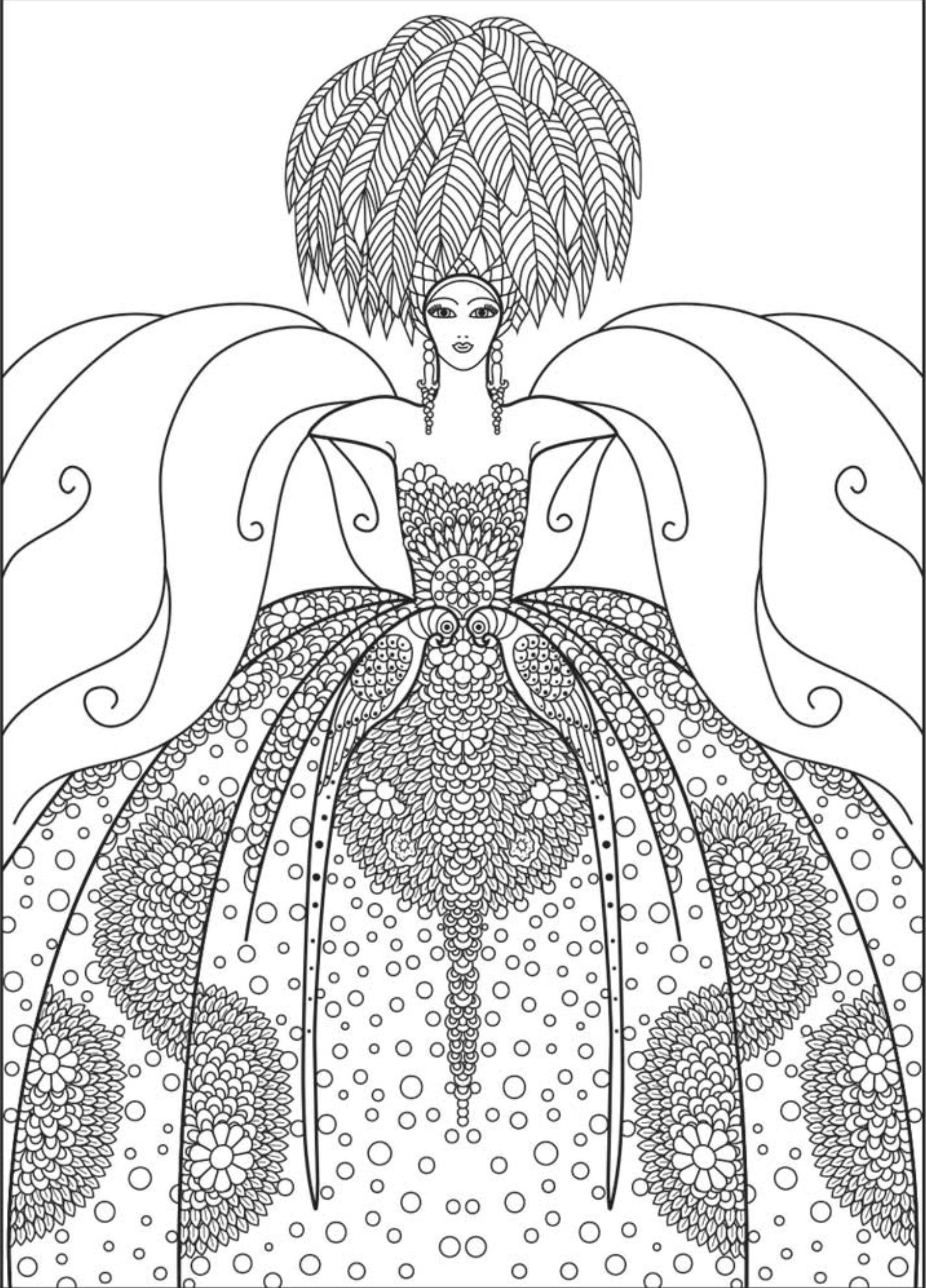 Fashion Coloring. Adult Coloring Pages: Fashion 1 | Adult ...