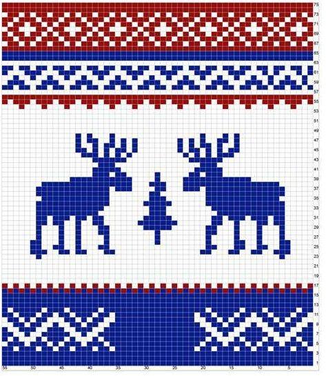 Вязанный орнамент из оленей 136