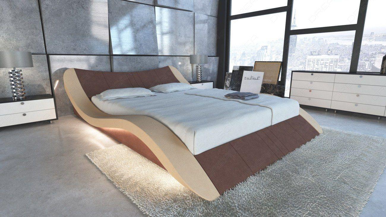 Design Wasserbett Frankfurt in Stoff mit LED | Luxus Betten ...