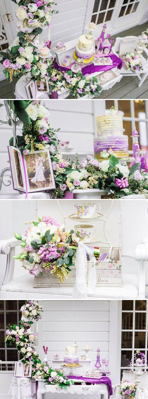 Lavender Gold Flecked Cake Wedding Cake - A PRINCESS INSPIRED BLOG ...
