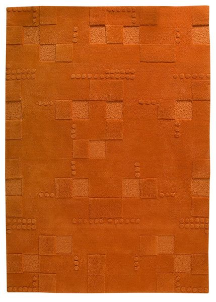 Miami Collection Hand Tufted Wool Area Rug In Orange Wool Area Rugs Modern Area Rugs Orange Rugs