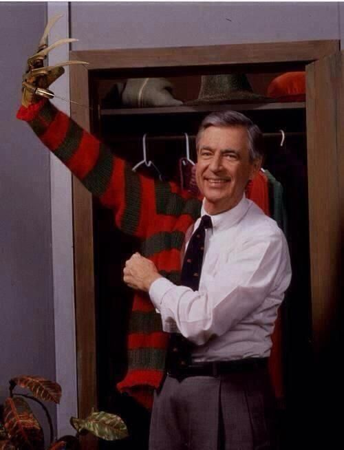"""Halloween costume inspiration for the conflicted mind benders out there... From the unaired tv special """"Mr. Rogers: Scars are forever"""" or sometimes.. """"Fred likes to go by Freddy."""""""