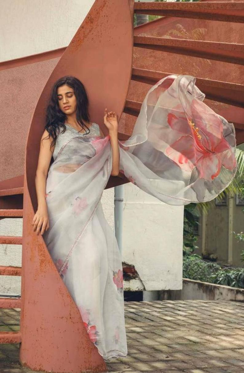 Organza Saree With Hand Paint Indian Saree Saree For Women Etsy Organza Saree Hand Painted Sarees Saree