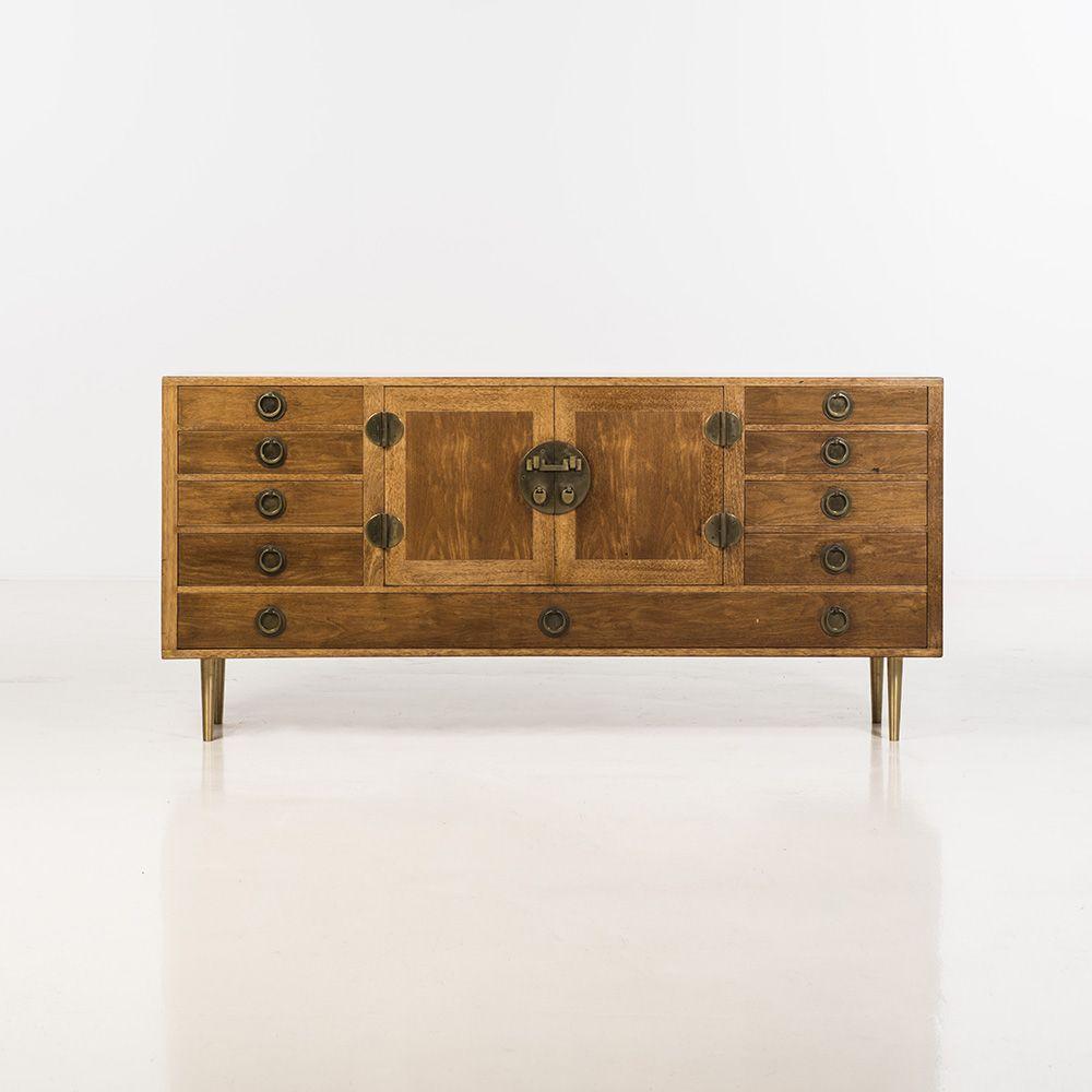 Edward Wormley; Wood and Brass Sideboard for Dunbar, 1956.