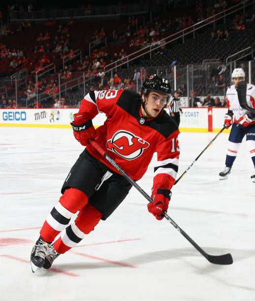 Nico Hischier of the New Jersey Devils skates against the Washington  Capitals during a preseason game at the Prudential Center on September 18  2017. 20afa5552