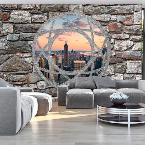 Vlies Tapete ! Top ! Fototapete ! Wandbilder XXL ! 400x280 cm - graue wand und stein