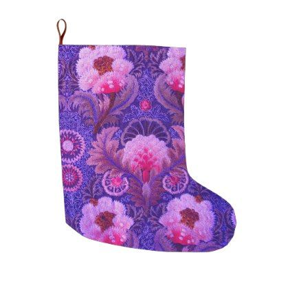 Purple Floral Art Large Christmas Stocking - pattern sample design ...