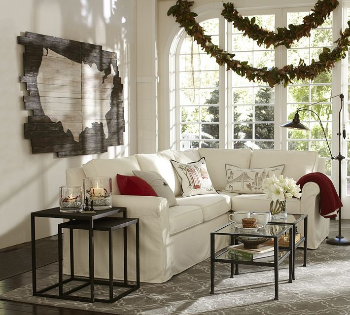 Pottery Barn Living Room With Carpet And Decorative Plant: Home Decor, Rugs In Living Room