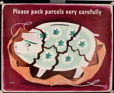 "Tom Eckersley, ""Please pack parcels very carefully,"" pig. 1940s."
