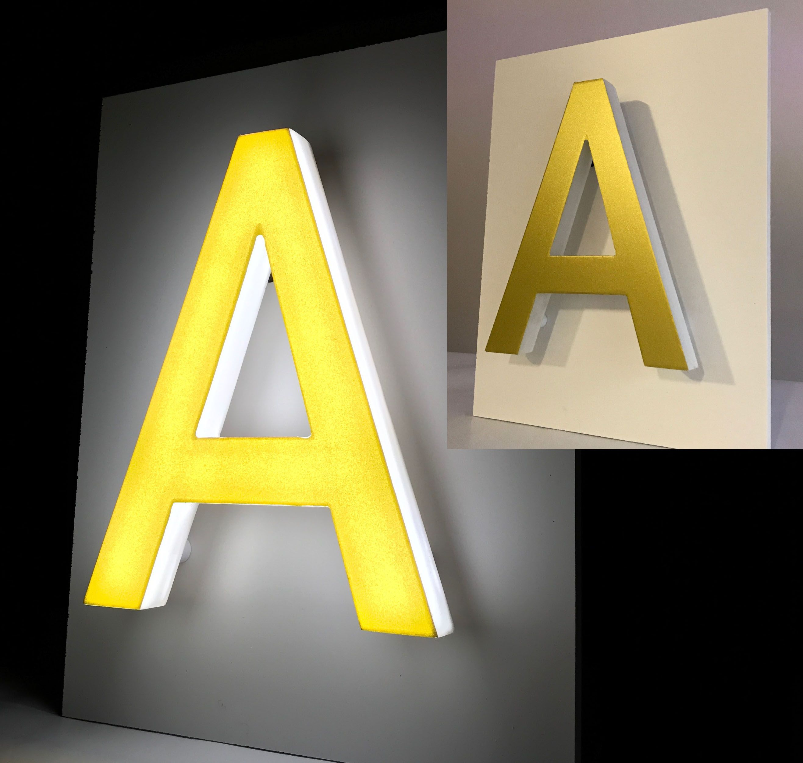 Gold Front Illuminated Led Sign For Outdoor Use Front And Sides Thin Illuminated Letter Led Light Design Gold Signage Light Letters