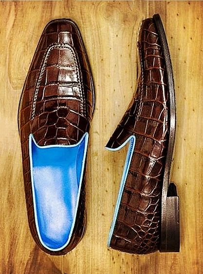 Handcrafted Mens Alligator Skin Slip-on Loafers Classic Business Shoes