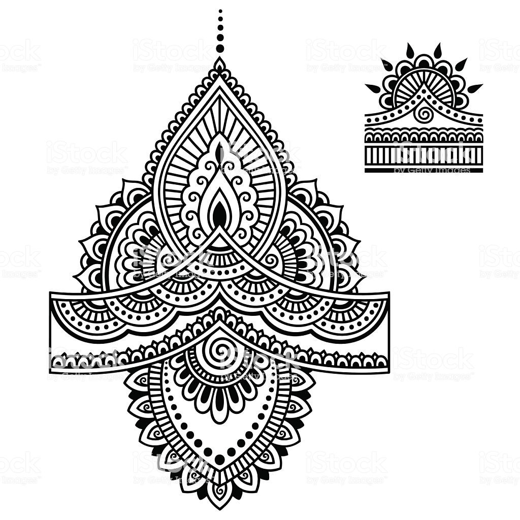 Photo of Henna tattoo flower template.Mehndi.