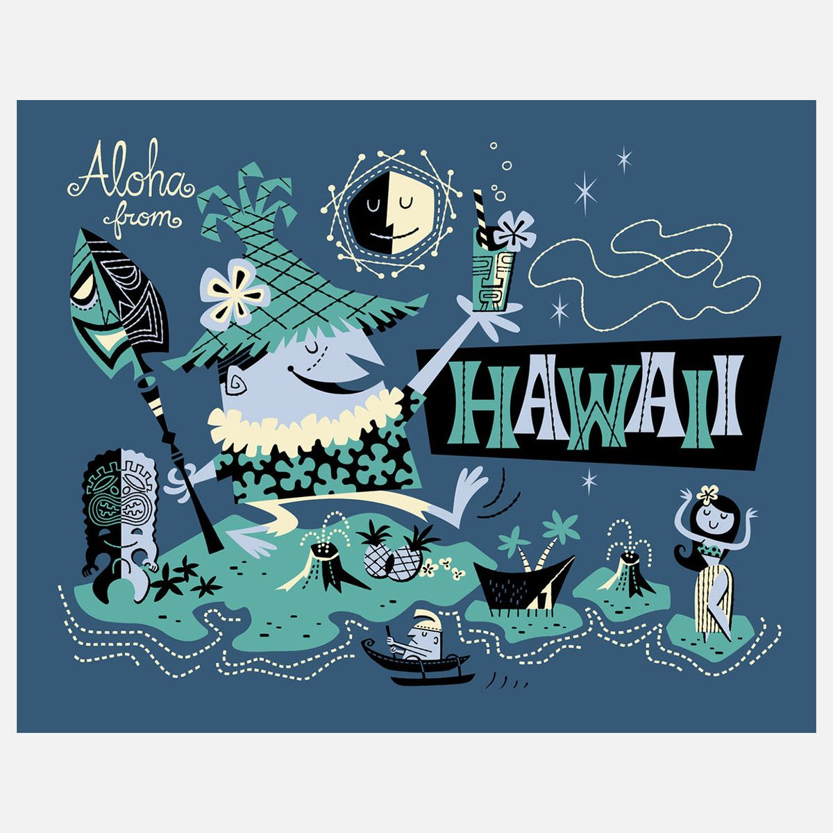Aloha Derek Art Derek Yaniger Hawaii Art Serigraph Retro