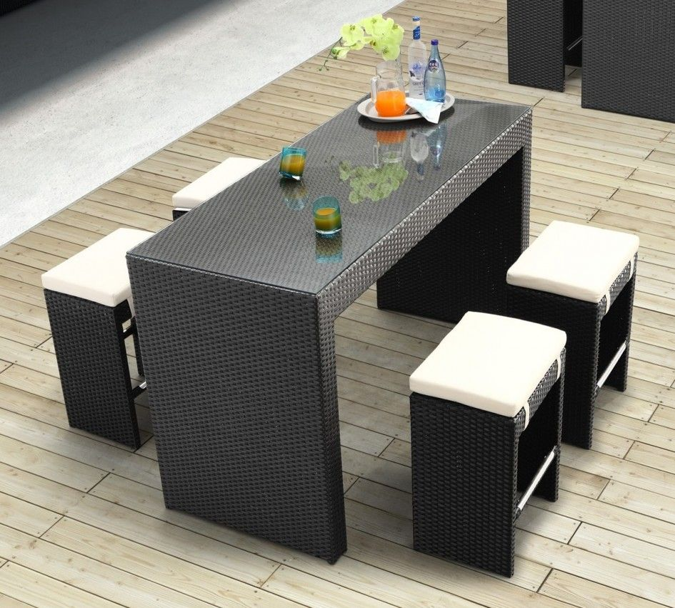 Black Seagrass Wicker Dining Sets With Rectangle Glass Top Table Rounded